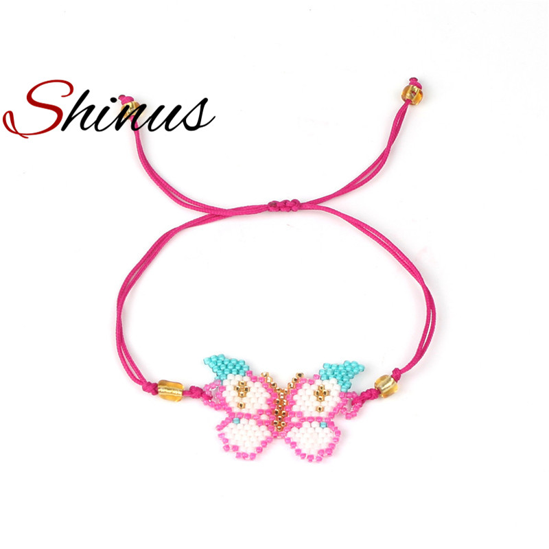 Shinus Butterfly Charm Bracelets Women Bracelet Femme Love Diy Friendship Jewelry Seed Beads Handmade Pink Grils Christmas Gift
