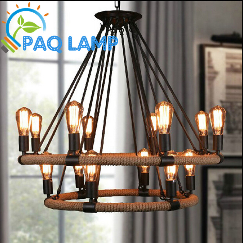 Vintage lights chandeliers lamps Single/double rings Hemp rope indoor lighting living  coffee bars sitting room light fixture vintage edison chandeliers high quality the waves hemp rope lamp candle lampholder pendant led coffee bars shop light fixture