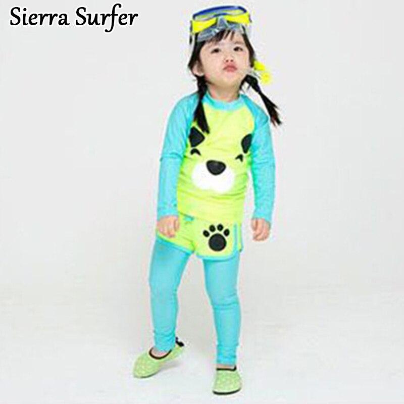 Children Swimwear Girls Bikini Child For Swimming Suits Cute Kids Swimsuits 2018 Long Sleeve Lovable Cat Three Piece Cap Suit