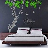 8475 * Hot Ivy pájaro Ramificación habitación de los niños 3D espejo pegatinas de pared decoración mural adhesivos a prueba de agua