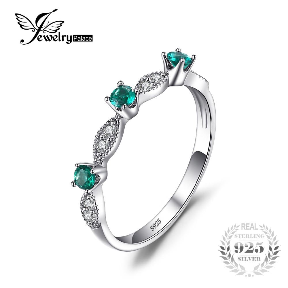 6336cefed9b4 JewelryPalace 3 piedras Ronda Creado Esmeralda Anillos de Compromiso de Boda  Para Las Mujeres Genuino 925
