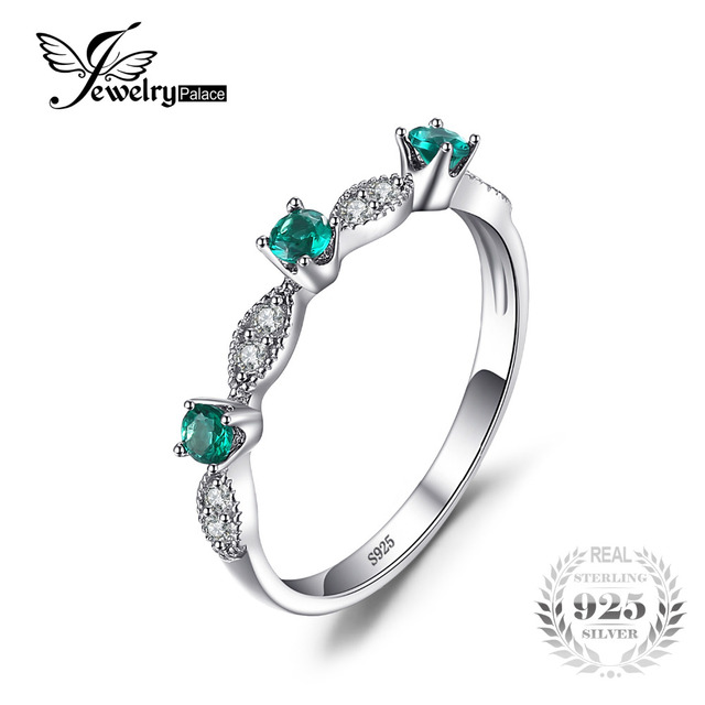 JewelryPalace 3 stones Round Created Emerald Engagement Wedding Rings For Women