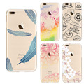 Soft Transparent TPU Phone Cover for iphone 5 5s 6 6s 6Plus 7 7Plus Case Beautiful Flower Feather Seagull Pattern Soft Back Capa