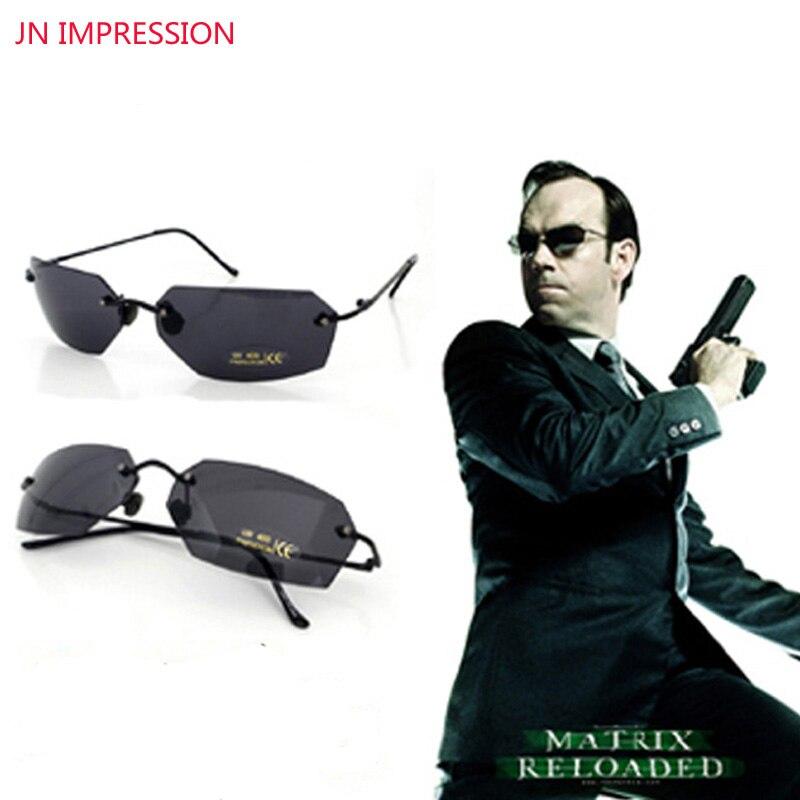 Jn impressão sem aro clássico oval óculos matriz morpheus óculos de sol filme óculos de sol homem uv400 oculos de sol