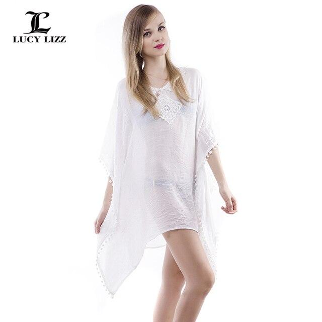 Women Beach Dress White Beach Cover Up Chiffon Blouse Loose Plus