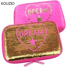 sequin pencil case glitter  for girls kawaii unicorn estuche escolar trousse scolaire stylo piornik szkolny school supplies cute