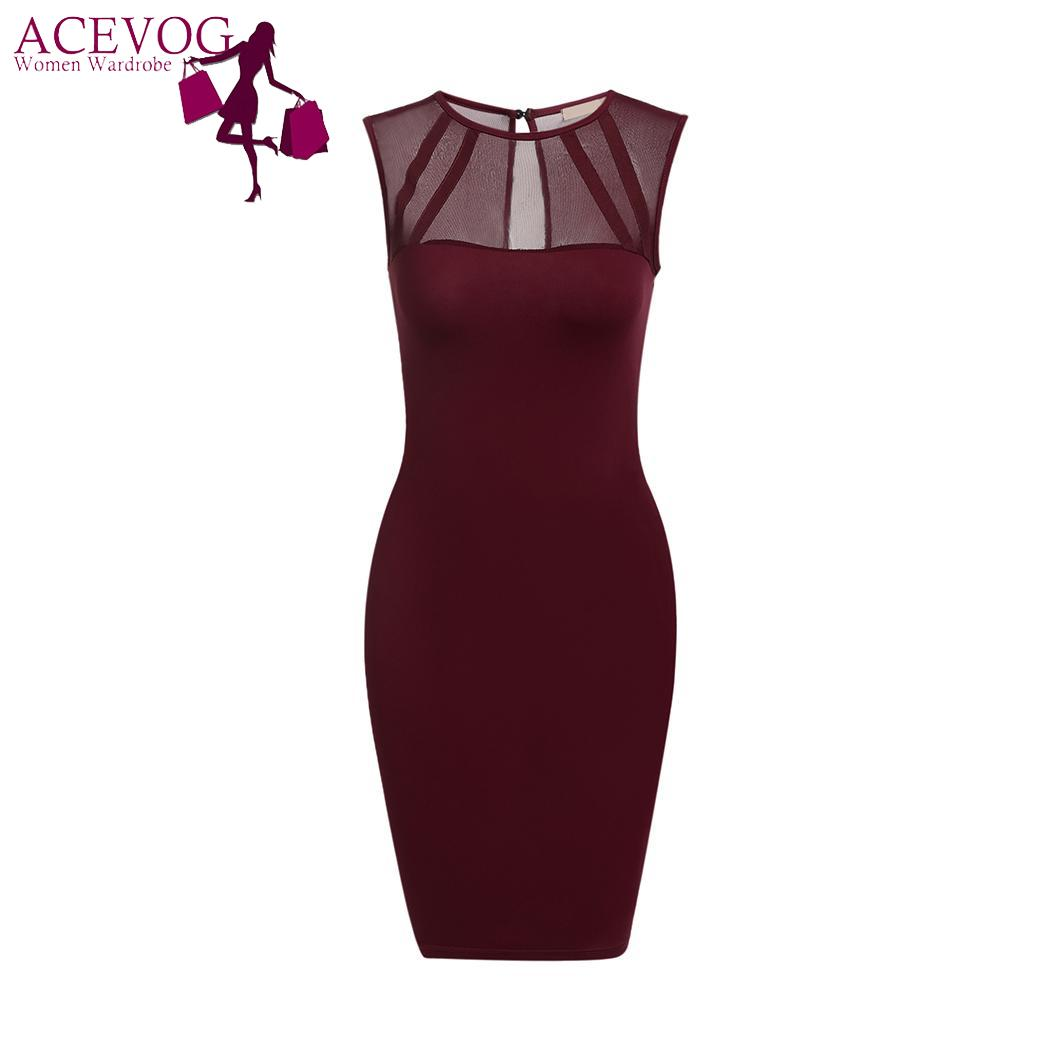 ACEVOG Sleeveless <font><b>Dress</b></font> for <font><b>Female</b></font> Fashion V-Neck Women <font><b>Dress</b></font> Mesh Patchwork Summer <font><b>Dresses</b></font> Bodycon Slim <font><b>Sexy</b></font> <font><b>Party</b></font> <font><b>Dress</b></font> image