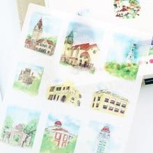 6 pcs/box dream castle Washi Stickers Diary Album Label paper Sticker DIY Decoration Stationery Children Gift