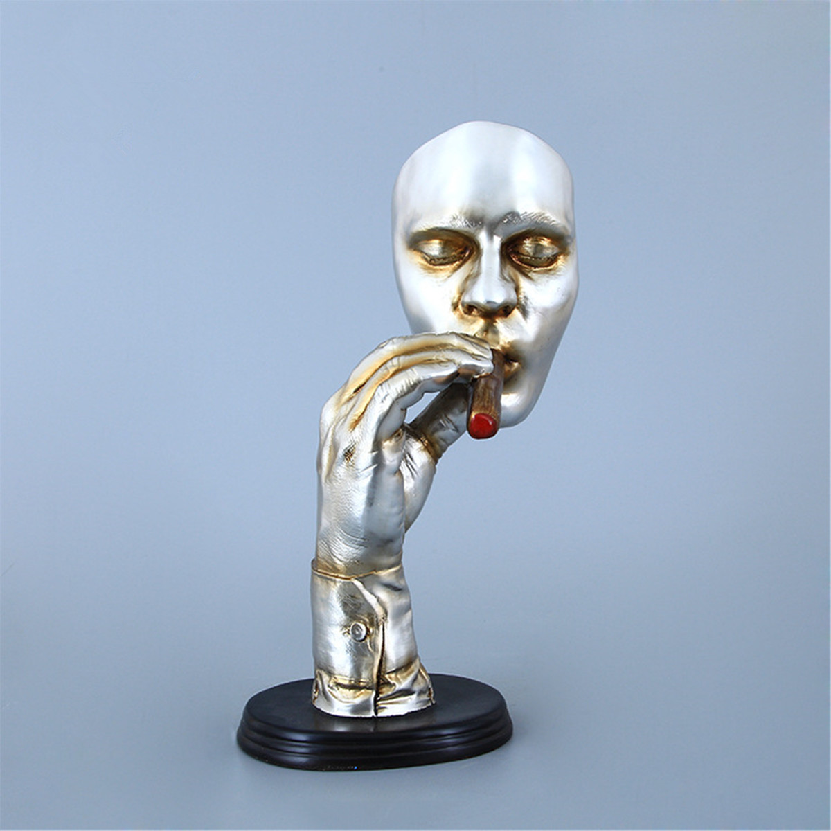 Retro Abstract Statues Sculpture Man Smoking Cigar Human Face Statue Ornament Character Resin Figurine Artwork Home Decorations