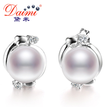 DAIMI Pearl Ethnic Earrings Real 7-8 mm / 8-9 mm White Pearl Earrings Flower Earring For Female Birthday Gift