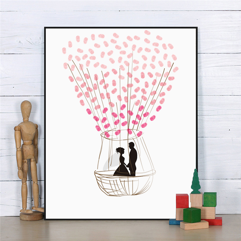 HAOCHU Romantic Wedding DIY Signature Guest Book Baby Shower Party Canvas Fingerprint Painting Sweet Lovers In Hot Air Balloon ...