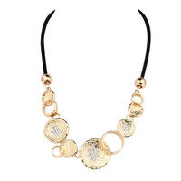 NEW Hot Bib Necklace Women Gold Plated Round Rhinestone Mosaic Statement Necklace Fit Engagement Party Turkey