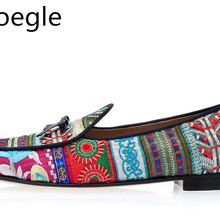 Men Multicolor Hand-embroidered Canvas Patchwork Men Casual Shoes Slip On Floral