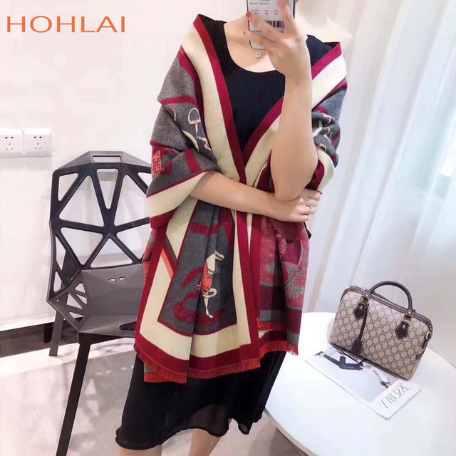 Luxury brand Winter New Carriage Scarf Warm Shawl Thicken Tassels Horse cashmere-like fashion show poncho cape womens pashmina 4