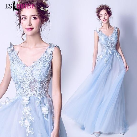 2019 nouvelles robes formelles robe De soirée Sexy col en v robes De Fiesta De Noche robe bleu Royal longue robe De soirée arabe ES2190