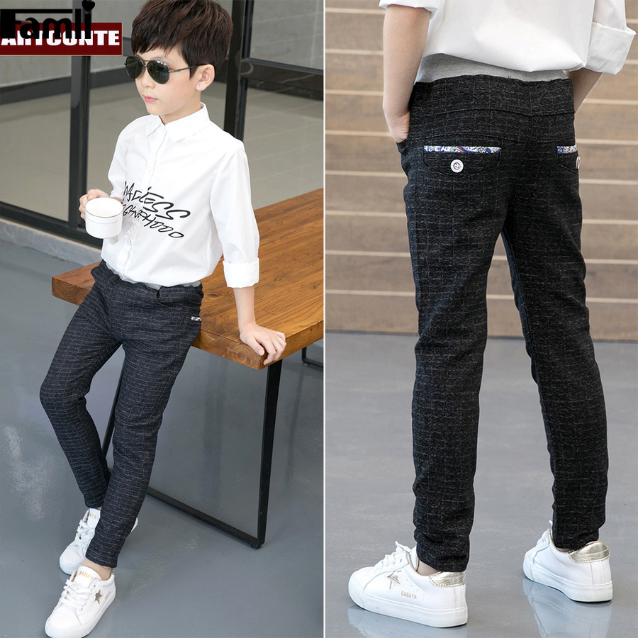 Famli Boys England Casual Trousers Kids Plaid Pants Elastic Waist School Children Full Length Trousers Fashion Big Boys Leggings 2018 spring girls and boys fashion loose straight elastic waist plaid cotton pants kids children casual wholesale long trousers page 1