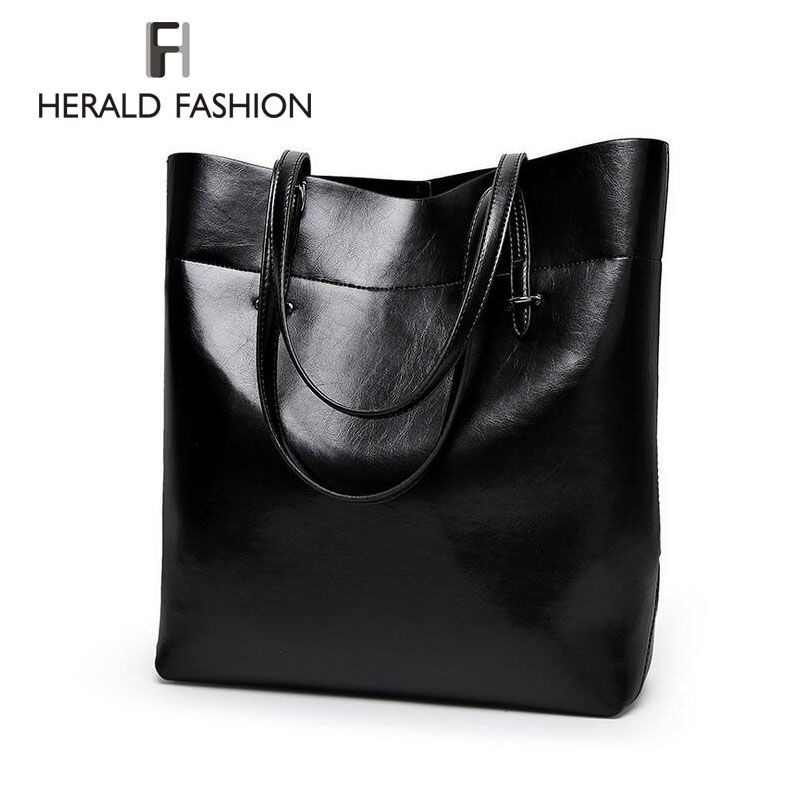 High Quality Leather Women Bag Bucket Shoulder Bags Solid Big Handbag Large Capacity Top-handle Bags Herald Fashion New Arrivals