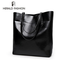 High Quality Leather Women Bag Bucket Shoulder Bags Solid Big Handbag Large Capacity Top-handle Bags Herald Fashion New Arrivals(China)