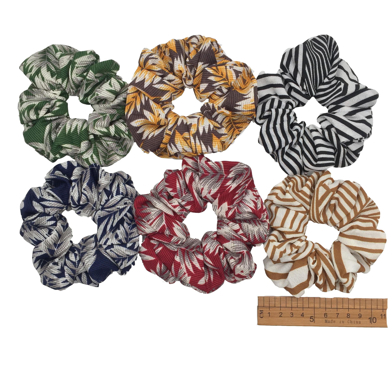 6 шт/лот Бархатные эластичные резинки для волос, резинки для волос для девочек, не складываются, леопардовые женские большие мелкие блестки из шифона с цветочным рисунком - Цвет: PJ003-6PCS
