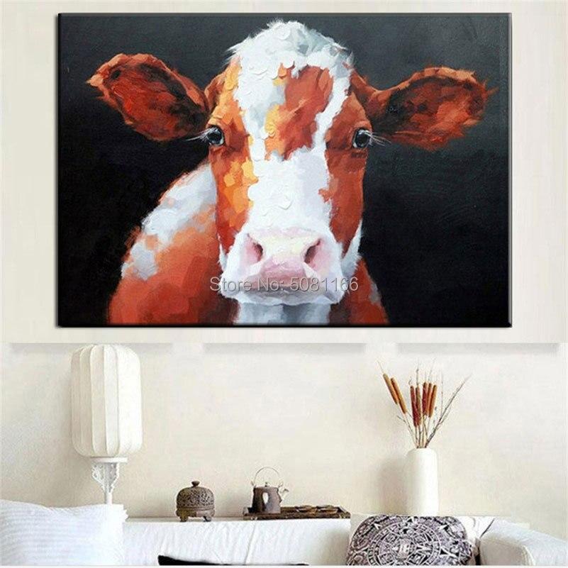 100% peint à la main jaune brun bétail peinture à l'huile sur toile scalper Art mur photo vache œuvre pour salon décor à la maison