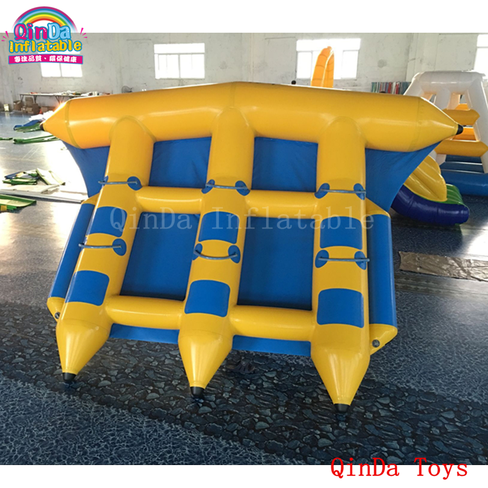 Water toy crazy gonflable flyfish banana boat with free pump,4*3m inflatable flying fish boat for sale commercial sea inflatable blue water slide with pool and arch for kids