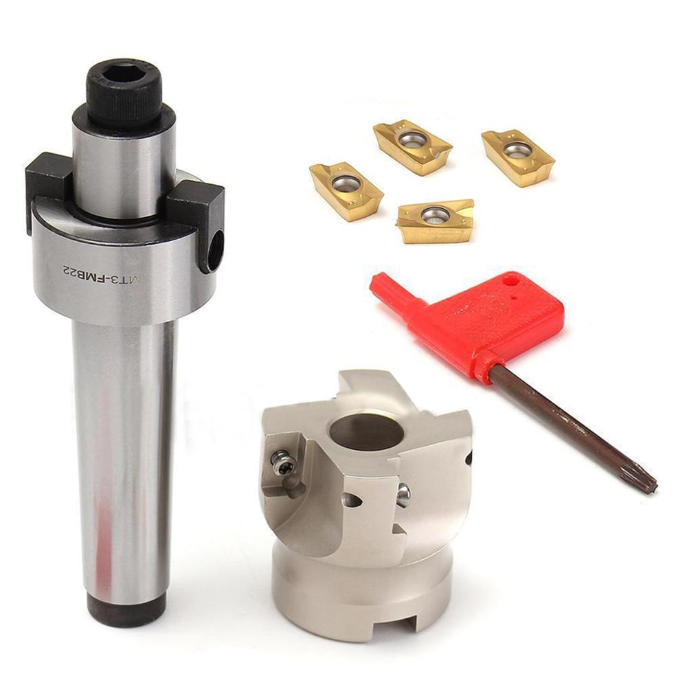 1pc 50mm MT3-FMB-Shank Face End CNC Mill Cutter with 4pcs APMT1604 Inserts and Wrench For Milling Machine 1pc bap 400r 100 32 6f face milling cutter with 10pcs carbide inserts and wrench for heavy cutting mayitr