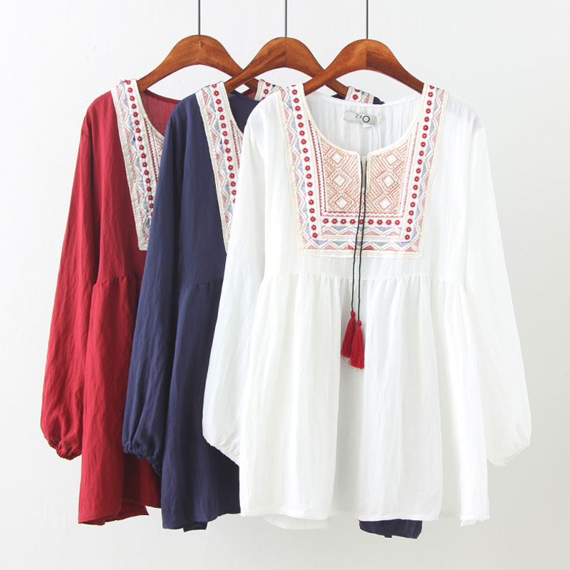 3XL 4XL 5XL Plus Size Women V Neck Long Sleeve Solid Vintage Embroidery Blusas Folklore Loose   Blouses     Shirts   Tee Tops Summer