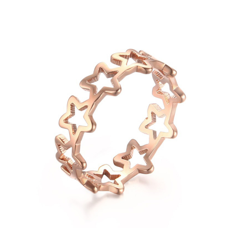 Fashion Pentagram Stars Party Ring for Women Rose Gold Color Stainless Steel Wedding Ring Female Engagement Small Ring