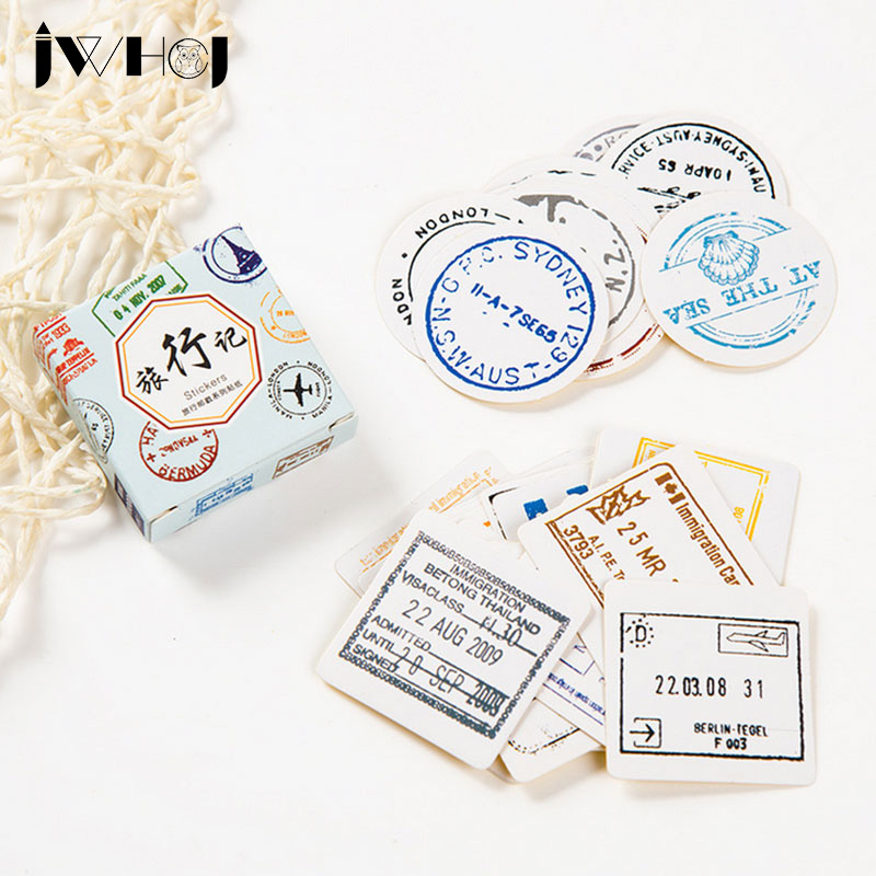 40pcs/box JWHCJ Travel records paper sticker decoration DIY scrapbooking Gift bag sealing sticker children's favorite stationery 50 pcs bag santa claus christmas stickers paper sticker decoration diy scrapbooking sticker children s favorite stationery