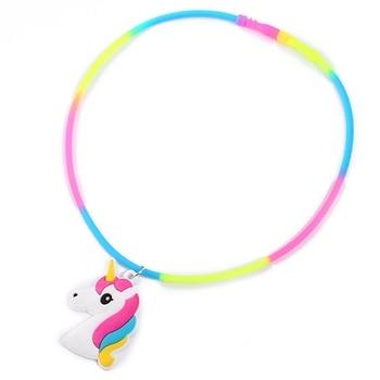 Rainbow Unicorn Pendant Rubber Necklaces Accessories
