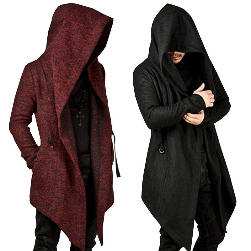 Vintage Mens Cloak Outerwear Trench-Coat Hooded Irregular Gothic Male Black Fashion Red title=