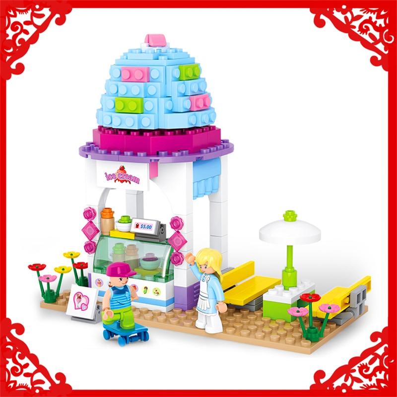 SLUBAN 0525 Block Compatible Legoe Girl Dream Ice Cream Shop Model 205Pcs    Building Toys Gift For Children sluban 0155 block pink dream snack car model 102pcs diy educational building toys gift for children compatible legoe