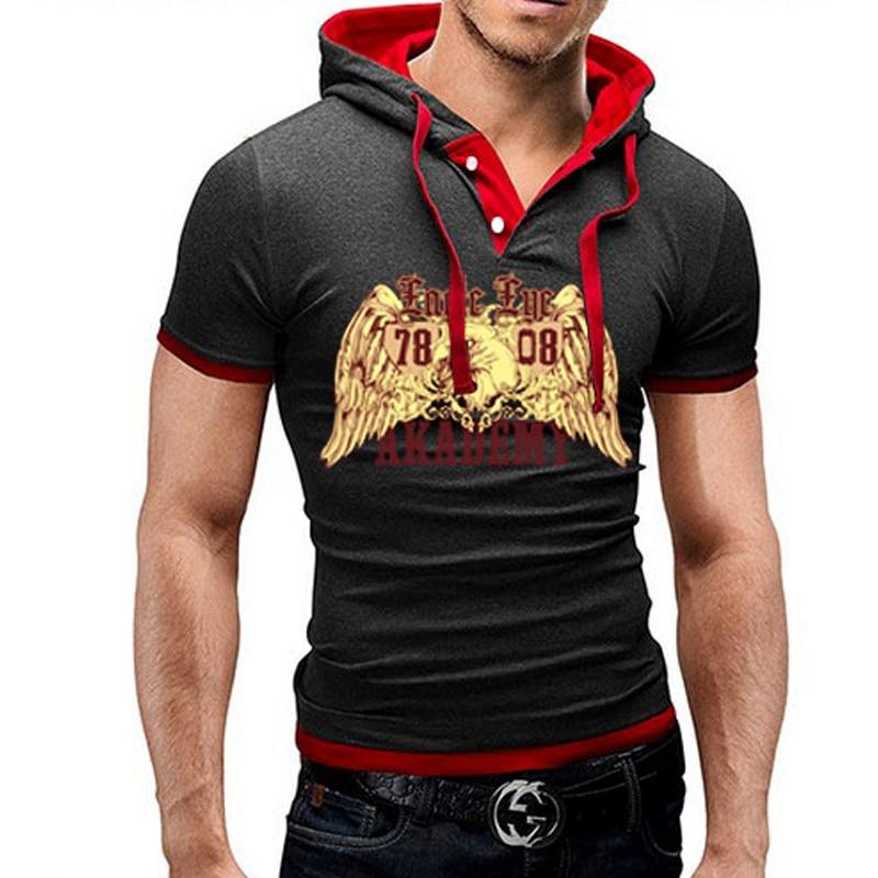 Male 2018 Brand Short Sleeve Cartoon Print   T     Shirt   Hooded Slim Men   T  -  Shirt   Tops Fashion Mens Tee   Shirt     T     Shirts   5XL