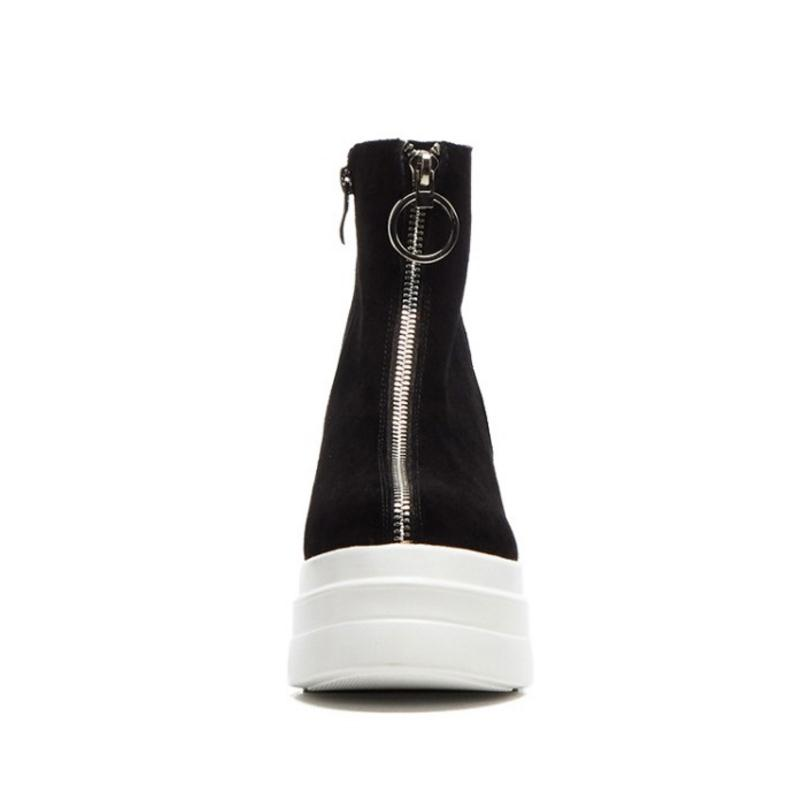 FITWEE kobiety prawdziwe skórzane botki pluszowe futro ciepłe zimowe buty dla kobiet moda na zamek błyskawiczny buty na koturnie buty rozmiar 34  39 w Buty do kostki od Buty na  Grupa 3