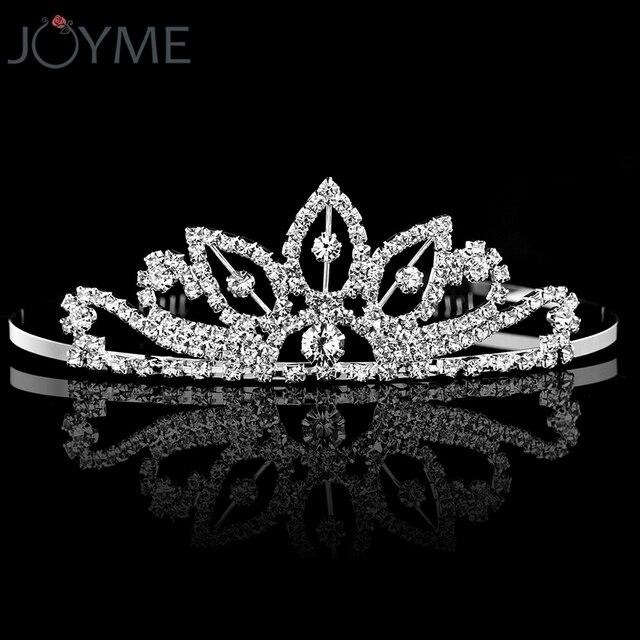 Joyme Crystal Rhinestone Crown Headbands Silver Color Wedding Hair  Accessories bridal Tiara Hair bands Girl s Birthday Hairwear 55b47c3713c2