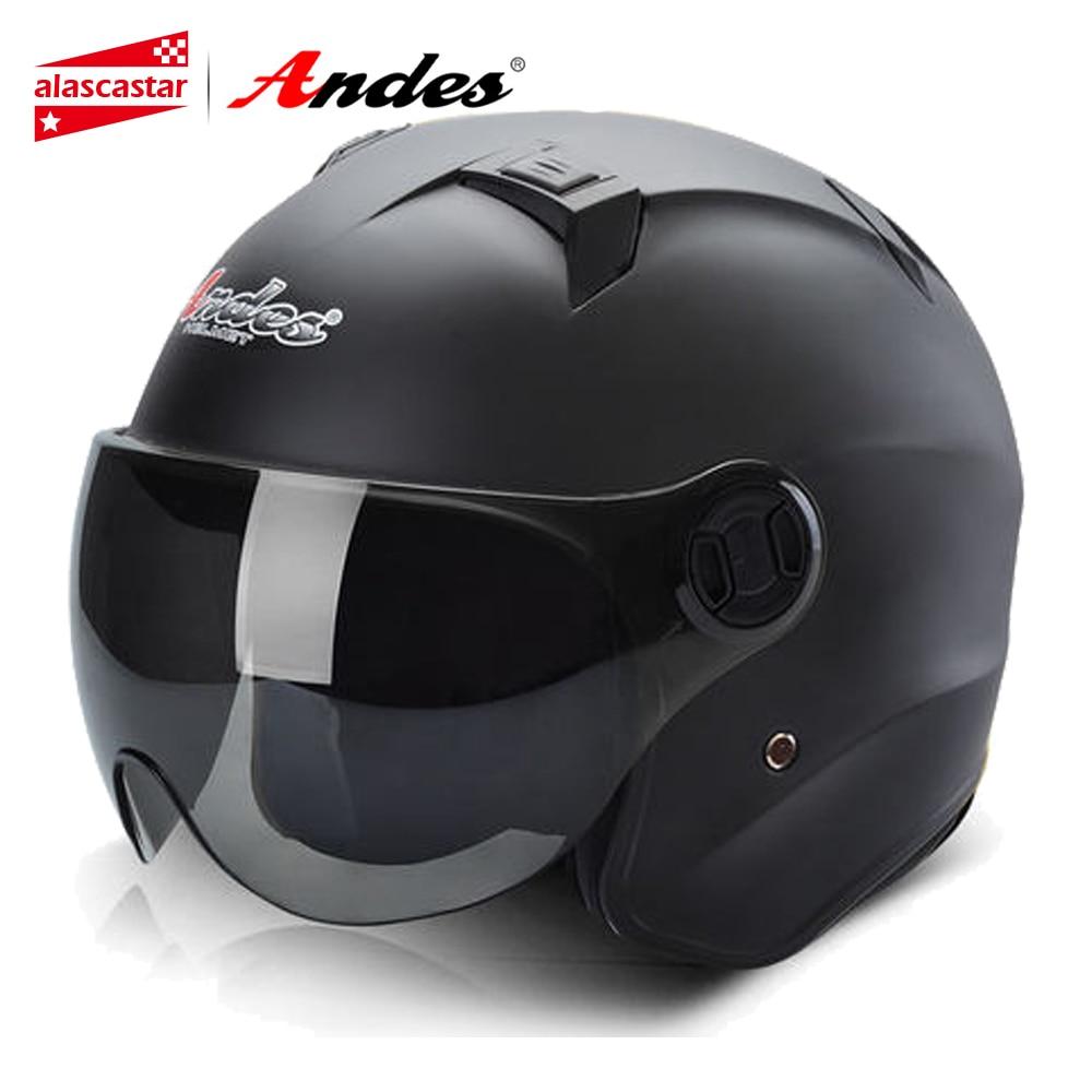 Andes Motorcycle Helmet Motocross Helmet Summer Scooter 3/4 Open Face Motorbike Moto Helmets Flip Up Visor Lense for Men Women цена
