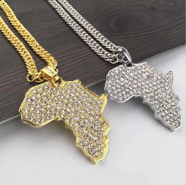 Africa pendant 2016 new silver gold color men fashion crystal africa pendant 2016 new silver gold color men fashion crystal african map pendant necklace hiphop aloadofball Images