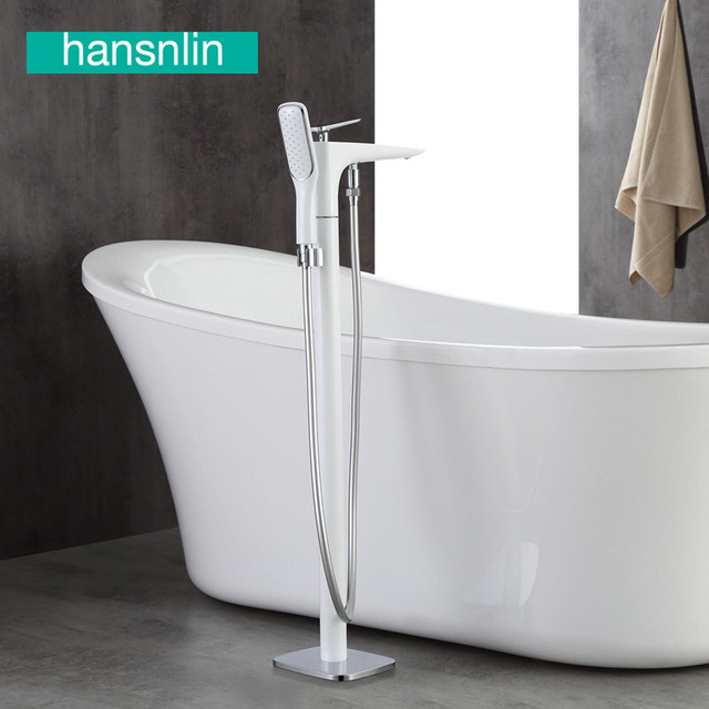 White Brass Freestanding Bathtub Faucet Bath Faucets Filler Mixer Bathroom  Water Tap Faucet Systems Floor Mounted
