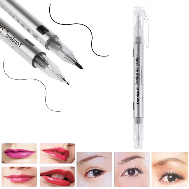 1 set Microblading Tattoo Eyebrow Skin Marker Pen With Measure Measuring Ruler Tattoo Eyebrow Marker Pen 1