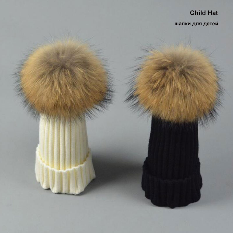 2016 Winter Child hat Skullies Beanies 15cm Real Fur Pompom Child Hat for Children Winter Hats For Girls Boys Winter Cap skullies
