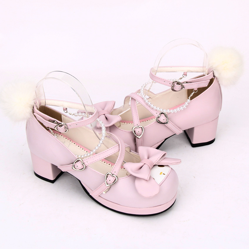 Filles mignon lapin croix sangle chaussures rose Chunky talons doux Lolita Cosplay chaussures-in Escarpins femme from Chaussures    3