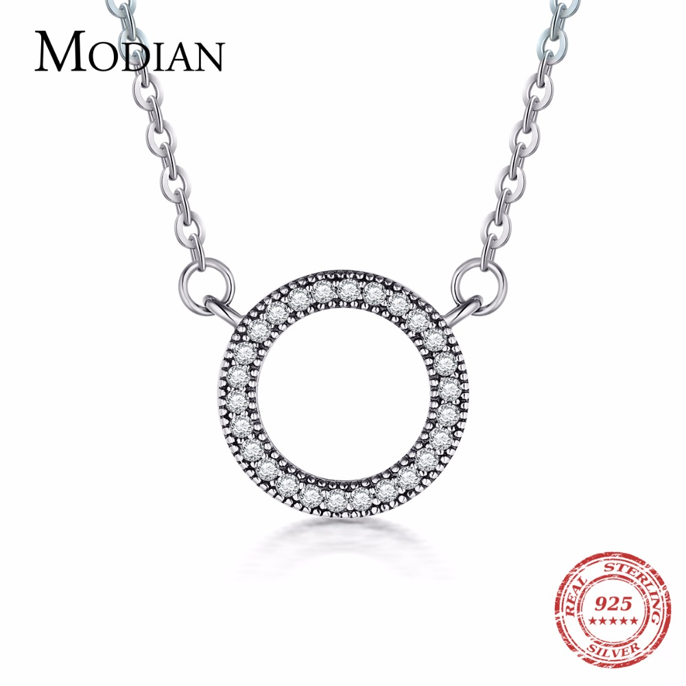 Modian 925 Sterling silver Hearts pendant Fashion Classic Brand Clear Cubic Zirconia Circle Necklace For Women Luxury Jewelry