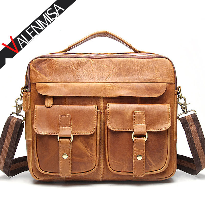 VALENMISA Brand 100% Crazy Horse Leather Briefcase 13inch Laptop Shoulder Bag Designer Men Messenger Bags Men'S Luxury Handbags designer second layer crazy horse leather briefcase men messenger shoulder bag laptop bag maletin hombre negocios bookbag b00021