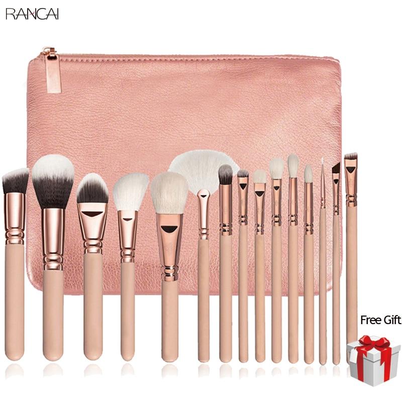 15 piezas Rosa maquillaje cepillos Pincel, Maquiagem de ojos en polvo Kabuki cepillo Kit completo cosméticos herramientas de belleza con el caso de cuero