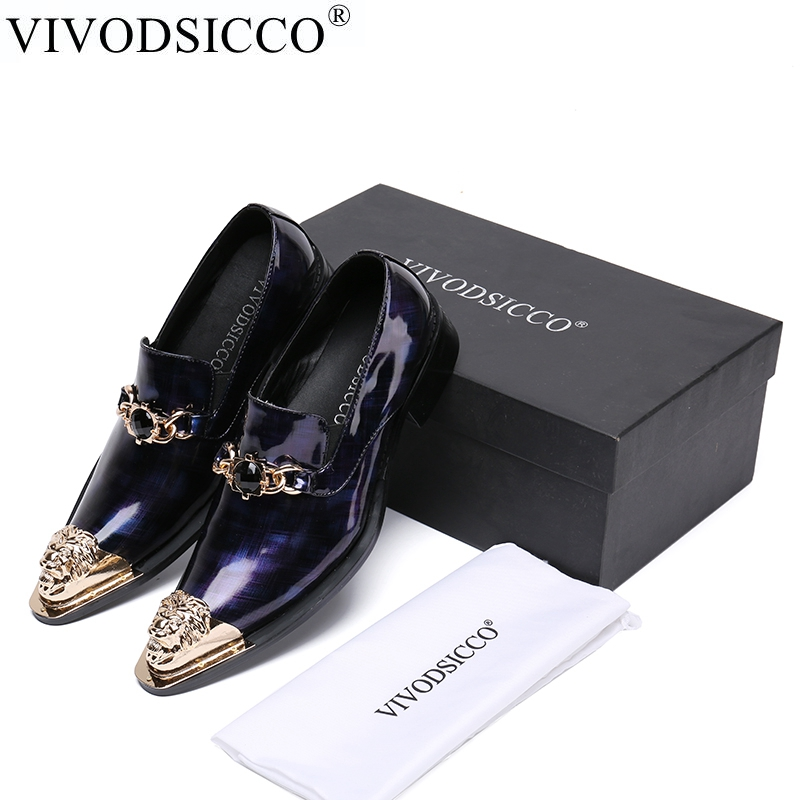 купить VIVODSICCO New Men Dress Shoes Fashion Style Man Genuine Patent Leather Wedding Shoes Social Sapato Male Metal toe Slip-On Shoes недорого