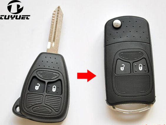 Modified Flip Folding Key Shell 2 Buttons for Chrysler Jeep Compass Wrangler Patriot Remote Key Case Fob|buttons buttons|button remote|buttons shell - title=
