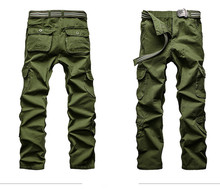 New Style Spring Summer Men Casual Cargo Pants Overalls Multi Pockets Loose Breeches Men Workwear Leisure