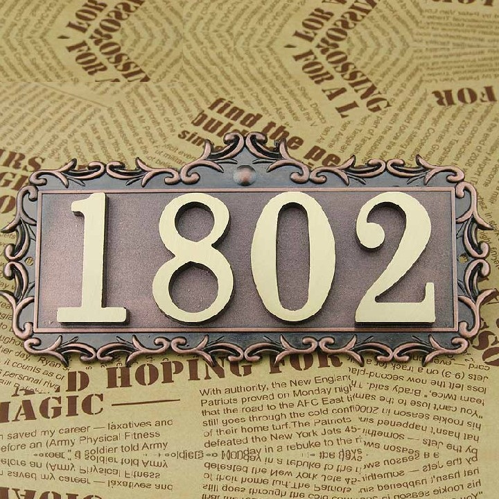 4 Digits European Style Pure copper house number card Villa apartment number four digits Free Shipping