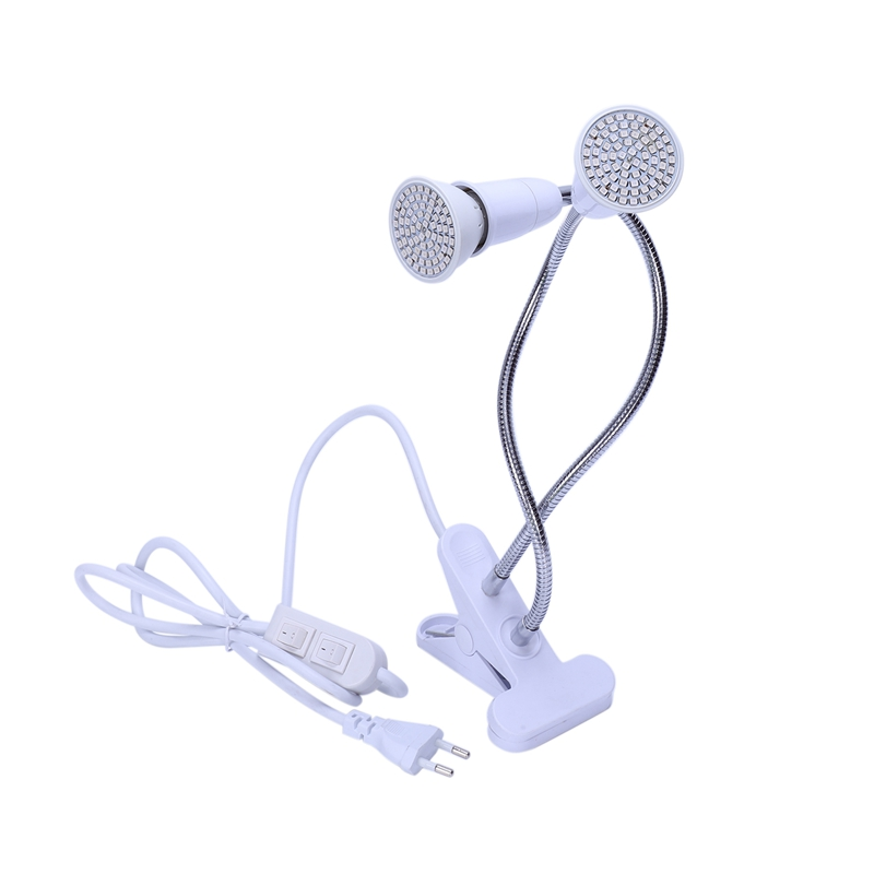 Double Head 72 Led Growth Lamp Growth Light Flower Plant E27 Clip Bracket Indoor Greenhouse Vegetable Vegetable Water And Elec