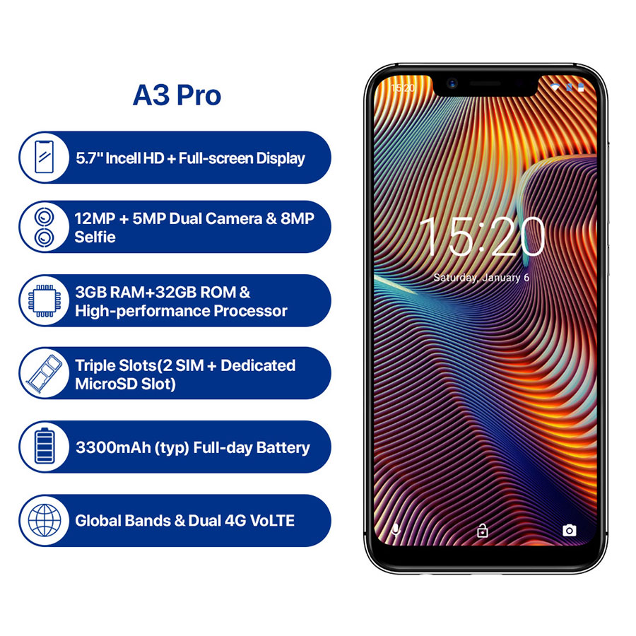 UMIDIGI A3 Pro Android 8.1 5.7''HD 19:9 Full Screen 3GB 32GB Quad Core Face Unlock 3300mAh 12MP+5MP Dual 4G OTG Mobile Phone-in Cellphones from Cellphones & Telecommunications    2